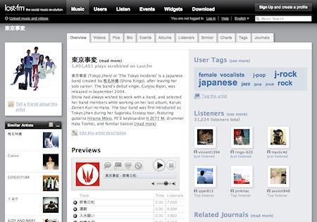 20080203 Tokyo Jihen Last.fm chart
